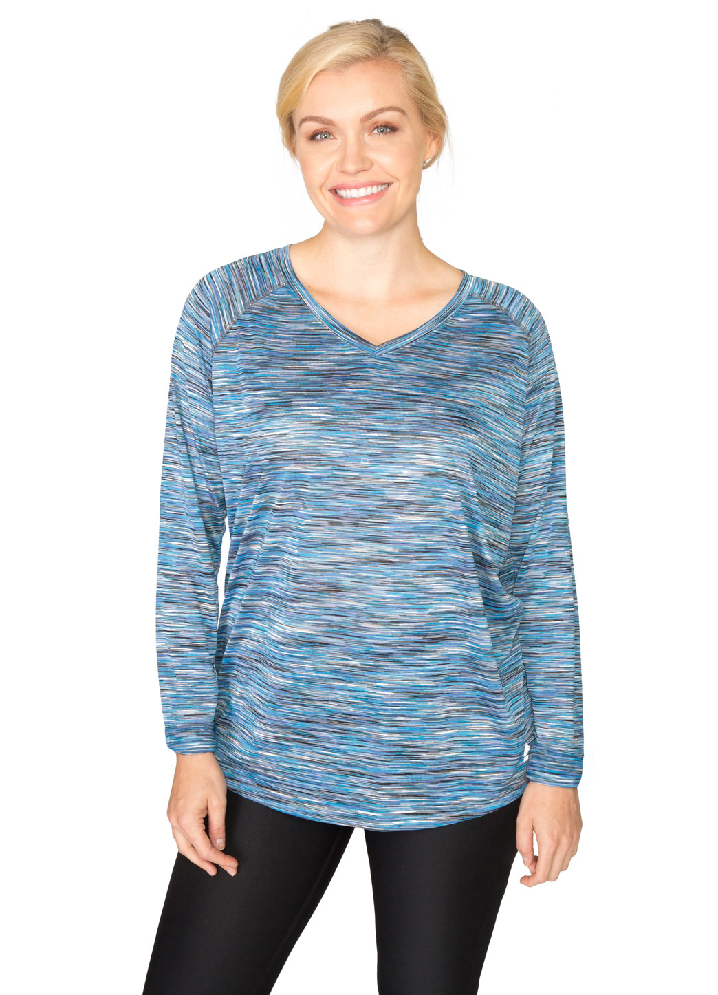 RBX Active Plus Long Sleeve Multi Color Space V-Neck