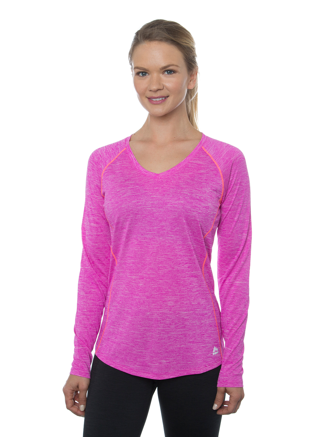 RBX Active Stratus Heathered Space Dye Long Sleeve V-Neck Tee