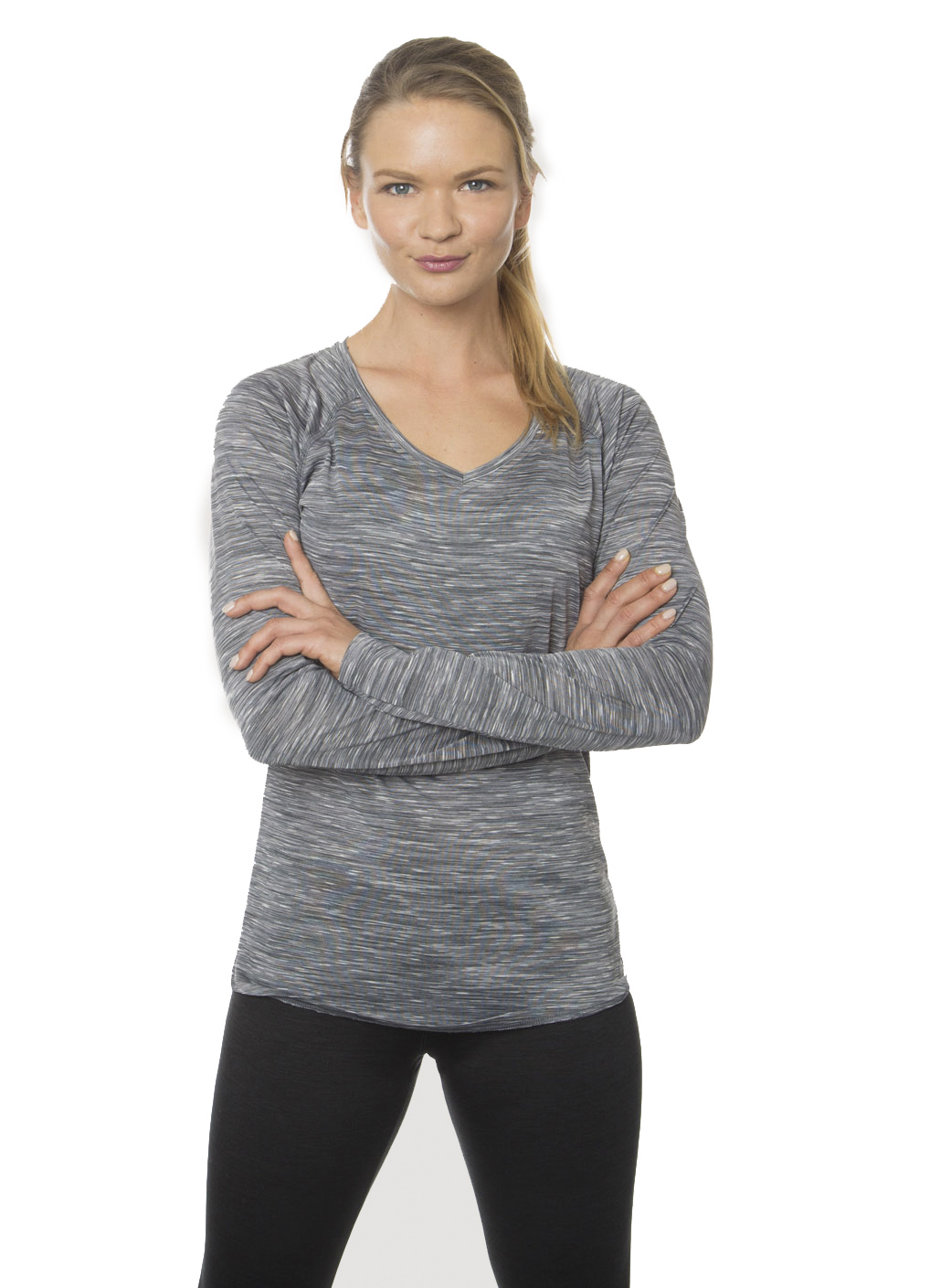 RBX Active Stratus Speckled Space Dye Long Sleeve V-Neck Tee
