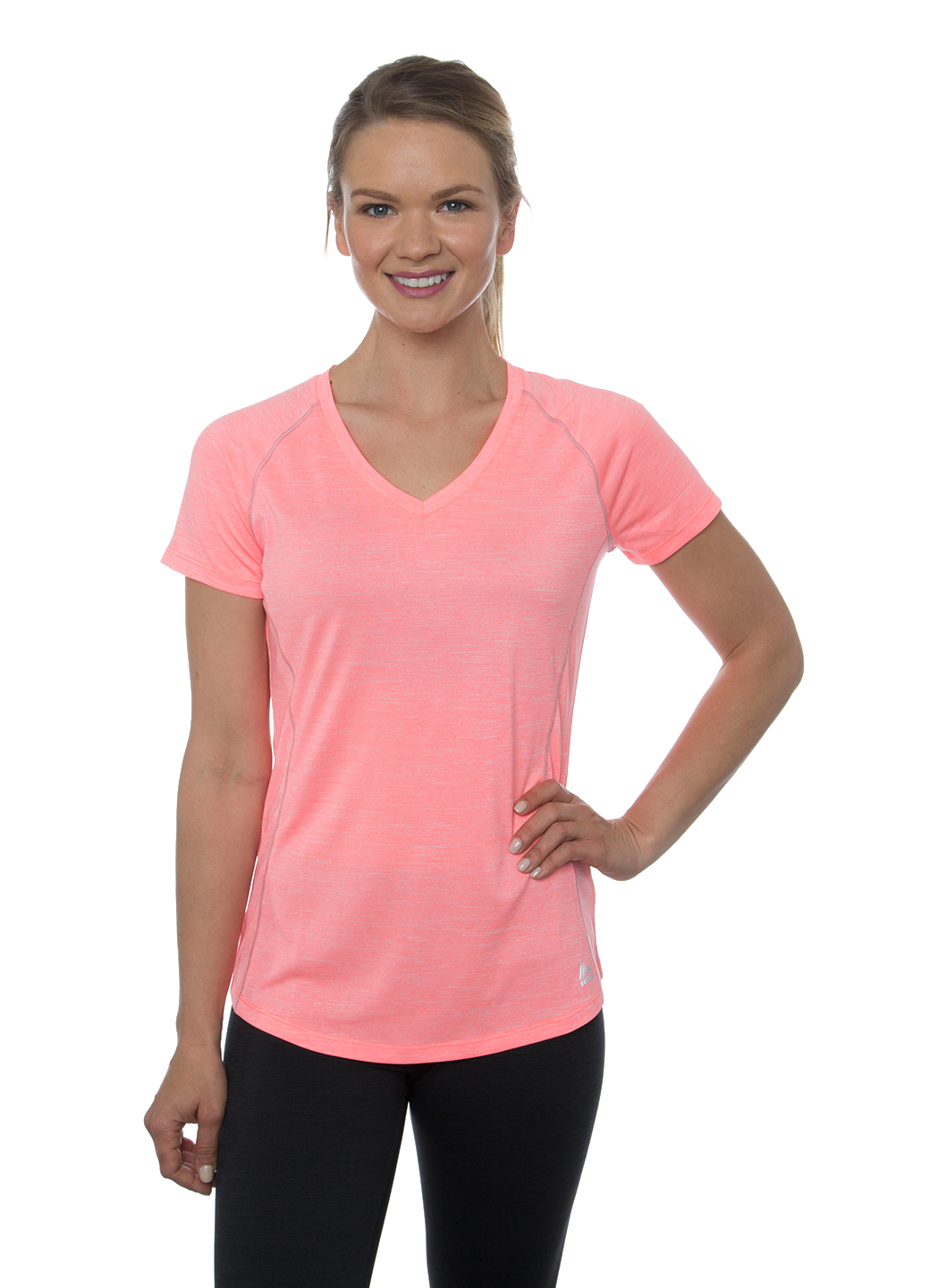 RBX Active Stratus Heathered Space Dye Short Sleeve V-Neck Tee