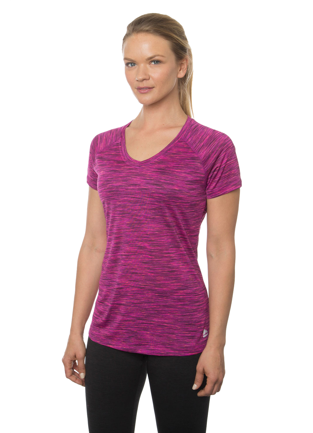 RBX Active Stratus Short Sleeve Speckled Space Dye V-Neck Workout Tee