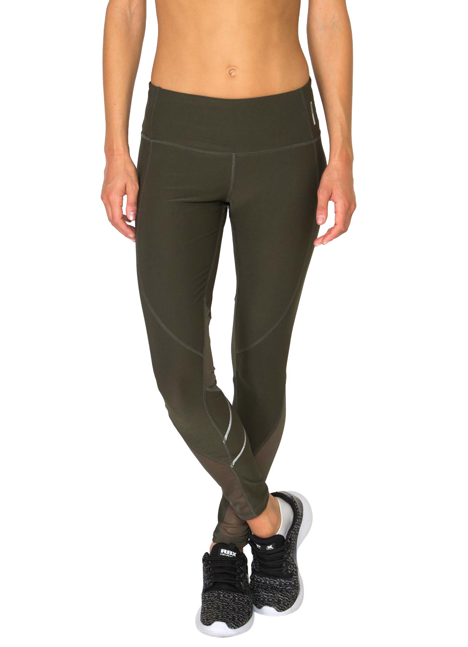 Spliced Leggings with Mesh and Reflective Tape