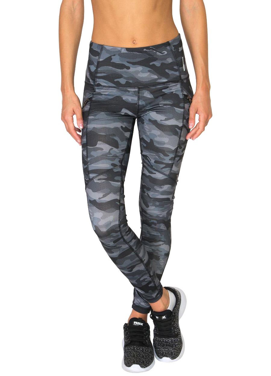 RBX Active All Over Camo Print Leggings with Zipper Side Pockets