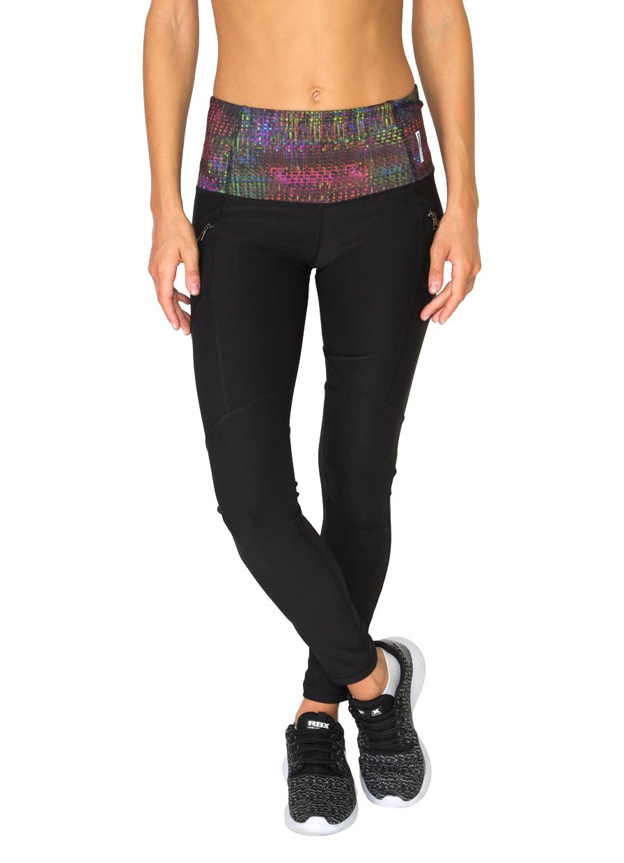 Full Length Fashion Leggings with Printed Waistband and Zip Side Pockets