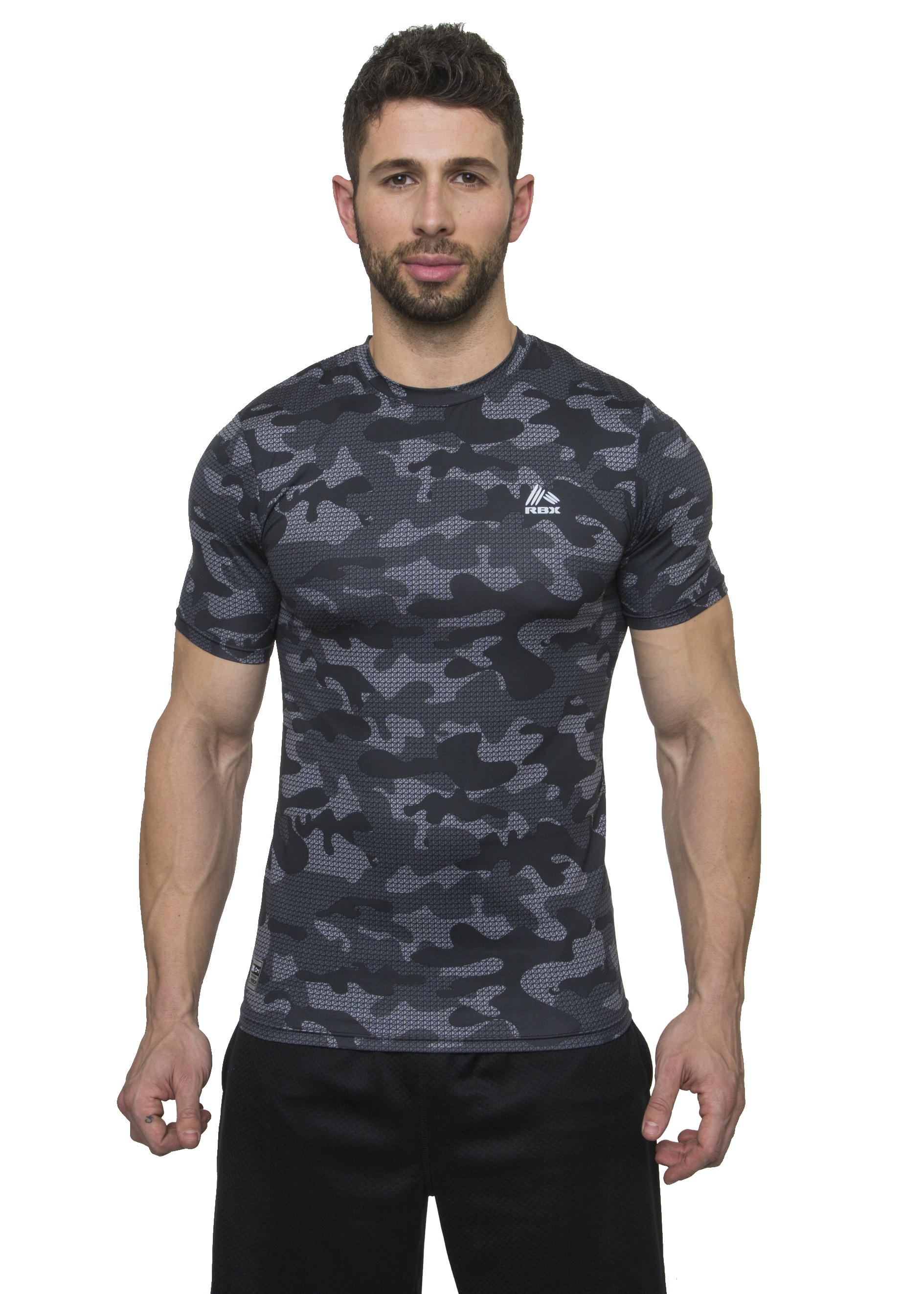 Rbx active men 39 s camo printed short sleeve compression t for Compressed promotional t shirts