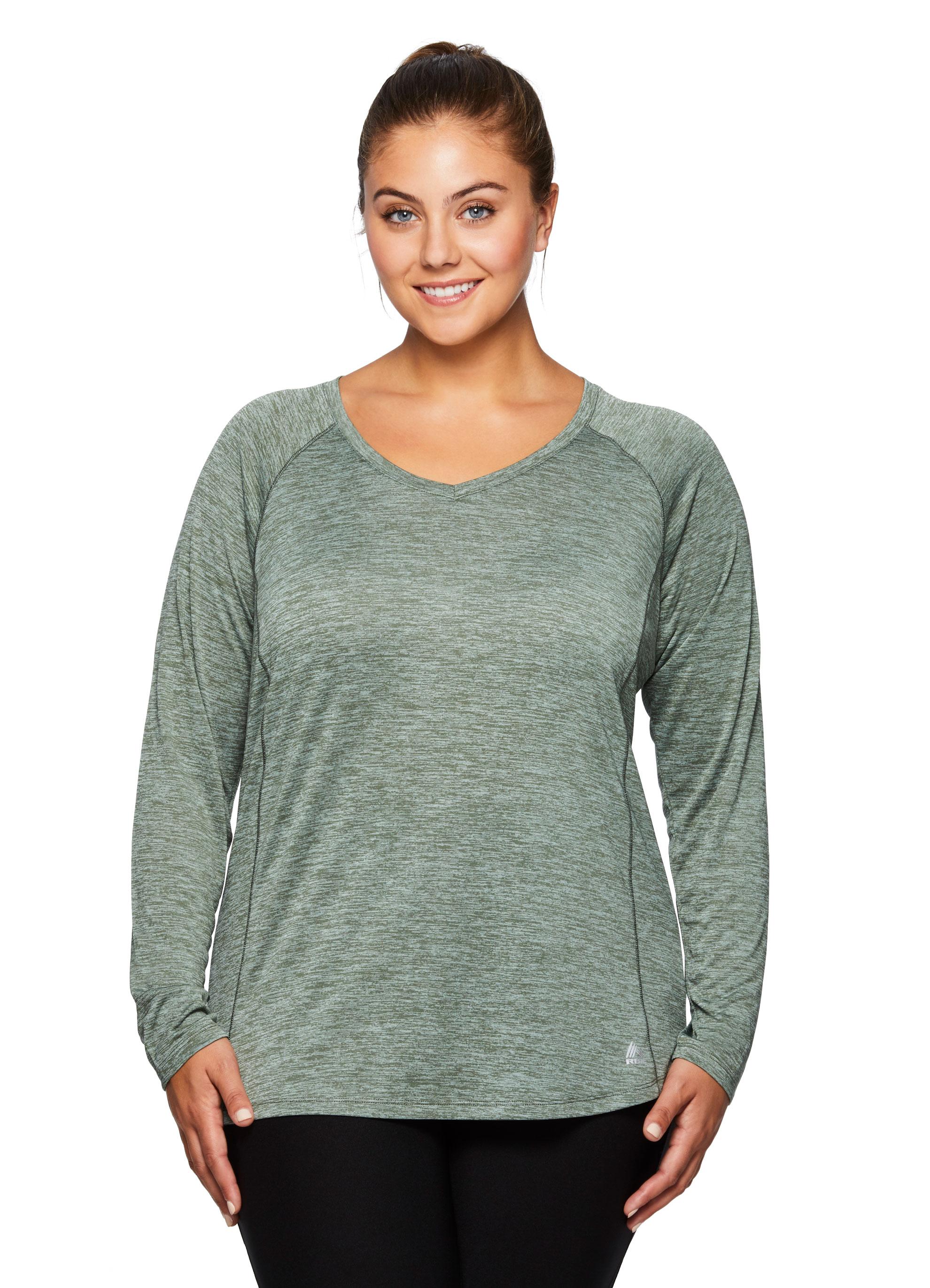 Rbx Active Women 39 S Plus Size Space Dye Long Sleeve V Neck