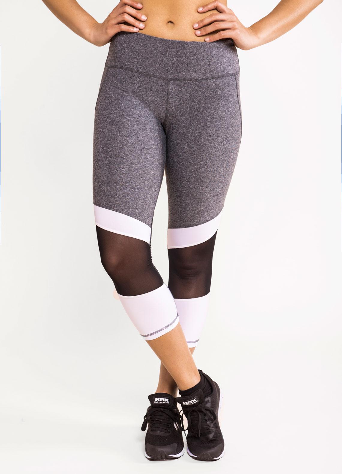 Vortex Contour Stripe Mesh Panel Cropped Leggings